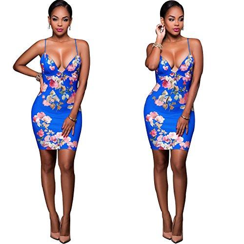 Hawaiian Print Shorts (Spaghetti Straps Bodycon Dresses Stretch Floral Print Sexy Dress for Summmer Party Beach Club (X-Large, Blue Flower))