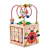 Activity Cube Bead Maze Toy-Acwenie 7 in 1 Play Centre Wood Toy Playset For Kids and Babies,Including 7 Games in 1 Set (Size:15*15*31CM)