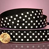 "Black And White Polka Dots Grosgrain Ribbon, 3/8"" X 25Yd"