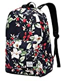 Floral Backpack for Women,VASCHY Fashion College Bookbag Student School Backpack w 15inch sleeve in Navy