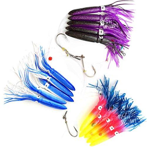 Fish WOW! Fishing Shell Squid Rig Daisy Chain Trolling Lure – 3 colors set –