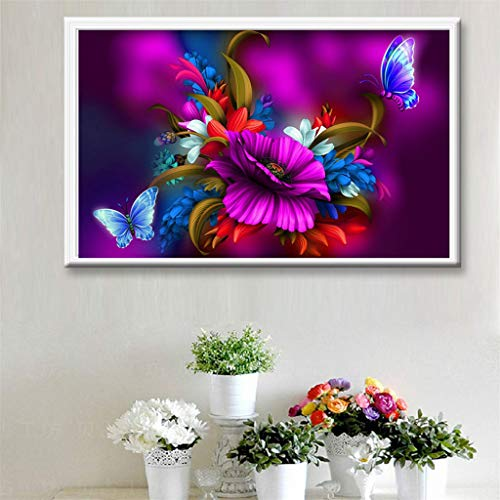 Baulody DIY 5D Diamond Painting by Number Kit, Full Drill Daffodil Flowers Rhinestone Embroidery Cross Stitch Ornaments Arts Craft Canvas Wall Decor (E) by Baulody (Image #3)