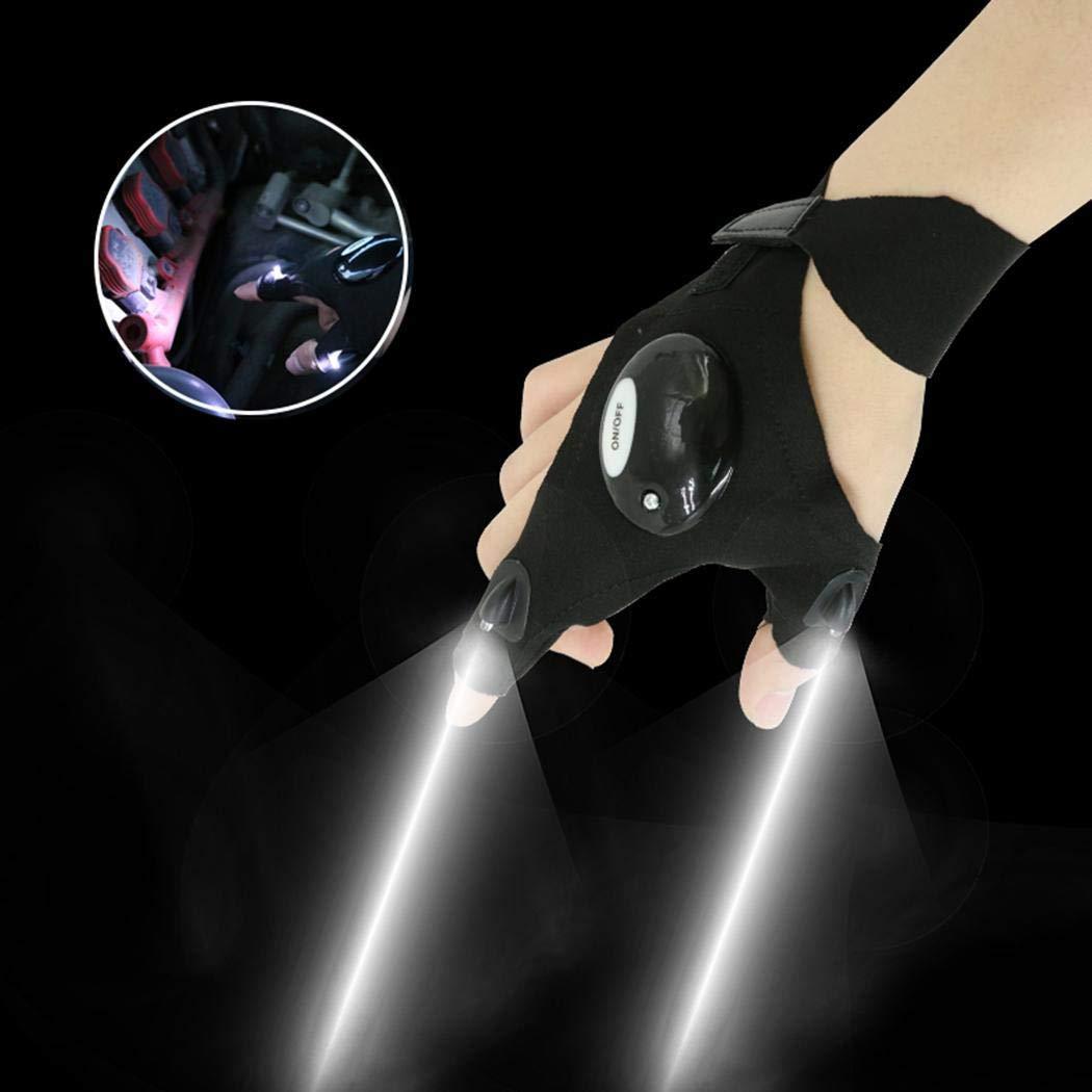 Swteeys Outdoor Einstellbare LED Taschenlampe Handschuh Angeln Camping Wandern Rettungswerkzeug Handschuhe