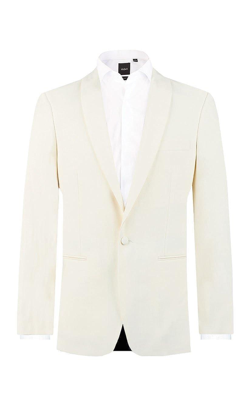 Dobell Mens White Tuxedo Dinner Jacket Regular Fit Shawl Lapel