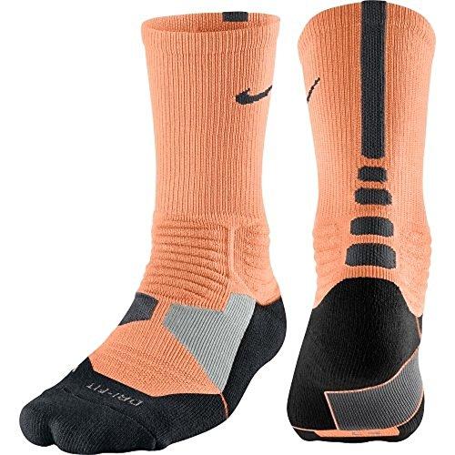Nike Mens Hyper Elite Cushioned Basketball Socks Large (8-12) Atomic Orange Anthracite