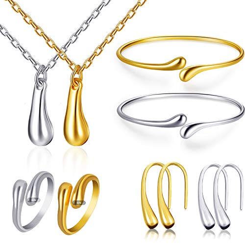 (meekoo 8 Pieces Women Water-Drop Jewelry Set Necklace Earrings Bangle Ring Jewelry for Wedding Bridal Party Favors, Gold, Silver Color)