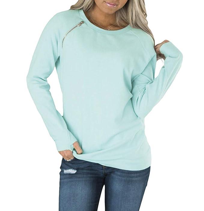 JackenLOVE Primavera y Otoño Mujeres Sudaderas Moda T-Shirt Jumpers Blusa Camisetas Pulóver Casual Cuello Redondo Manga Larga Tops tee Suéter: Amazon.es: ...