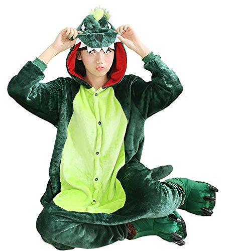 LALIFIT Animal Pajamas Sleepwear Winter Onesies Cosplay Costume Halloween Hooded Jumpsuit(Green Dinosaur,S)