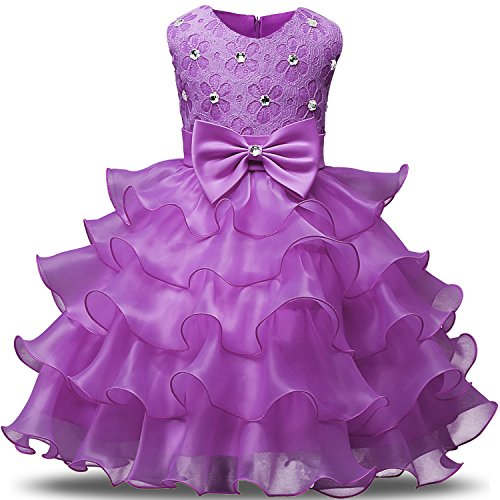 NNJXD Girl Dress Kids Ruffles Lace Party Wedding Dresses Size (140) 6-7 Years Light Purple