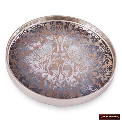 (Handpainted Mirror Wood Round Serving Tray from Peru, Wall Art Peruvian, Silver Kitchen Decor tray Drink, Serving tray, Birds design)