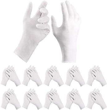 DazSpirit 10 Pares de Guantes Blancos, Tamaño XL, Guantes de Tela de Algodón, Color Blanco, Transpirables para el Cuidado de la Piel, Inspección de Joyas, Buscar, Trabajo Diario: Amazon.es: Bricolaje y herramientas