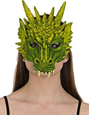 Green Rubber Dragon Mask Costume Accessory
