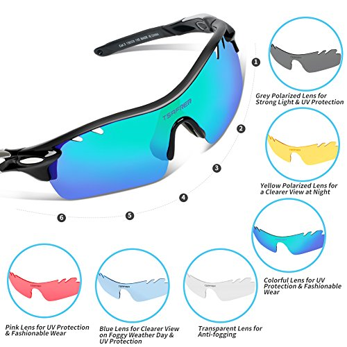 7502342a767 Tsafrer Polarized Sports Sunglasses with 6 Interchangeable - Import It All