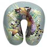 Raglan Carnegie Fox Forest Animals Watercolor Neck Head Support Travel Rest U Shaped Pillow for Airplane Train Car Bus Office