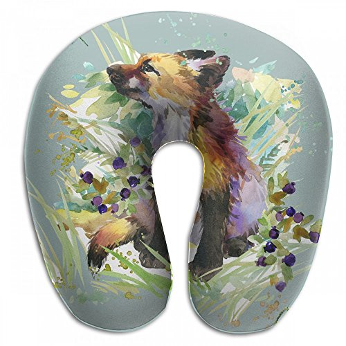 Raglan Carnegie Fox Forest Animals Watercolor Neck Head Support Travel Rest U Shaped Pillow for Airplane Train Car Bus Office by Raglan Carnegie