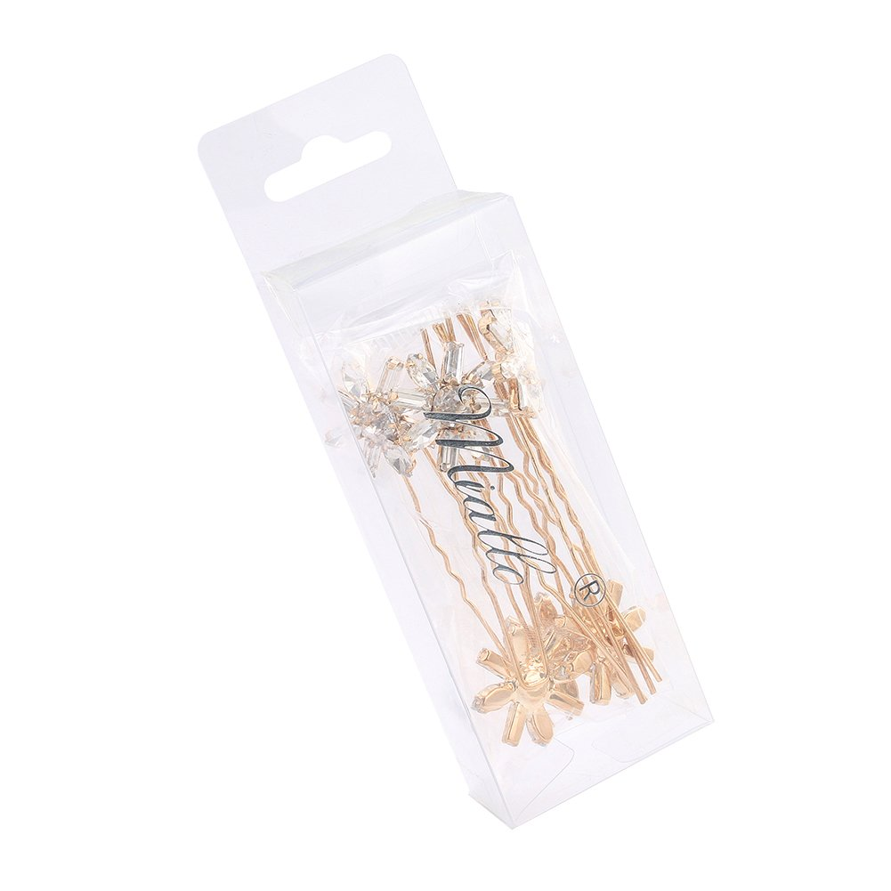 Miallo wedding Bridal Flower Crystal Hair Pins Bobby Pins–Clear Stone Rose Gold (Pack of 12) by Miallo (Image #5)