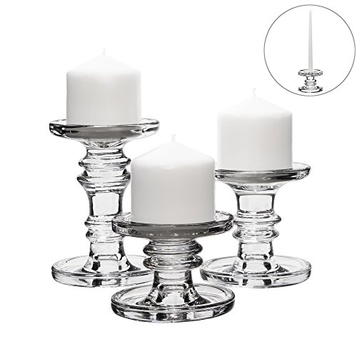 CYS EXCEL Multifunctional Set of 3 PCS Glass Candle Holder for Pillar Candle and Taper Candles, Three Different Heights (3.25