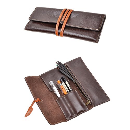 ZLYC Handmade Leather Pen Case Pencil Holder Soft Roll Wrap Bag Pouch Stationery Gift for Students, Coffee
