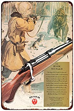 unframed wall art Ruger M 77 Rifle Ad w scope metal tin sign