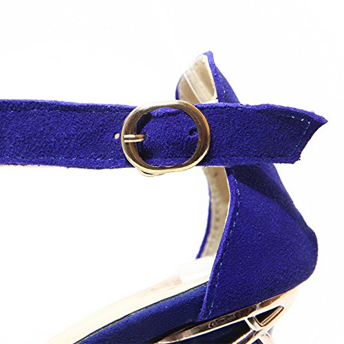 AalarDom Mujeres Tacón ancho Esmerilado Sólido Puntera Abierta Hebilla Sandalia Azul