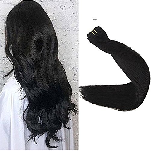 Full Shine 18 inch Weft Hair Extensions Real Remy Human Hair Extensions Weft Hair Sew in Extensions Double Wefted Color #1 Jet Black Remy Hair 100g Each Bundle