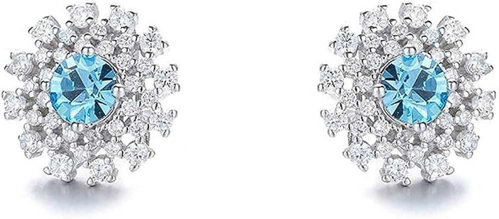 Xianglsp Co.,ltd Collar S925 Oreja De Plata Esterlina Clavo Femenino Pendientes De Cristal Azul Temperamento A Juego De Moda Famosa De Europa Y América
