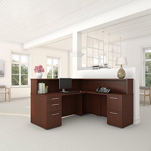 Bush Reception Desk - Bush Business Furniture 300 Series Harvest Cherry L Shaped Reception Desk with 2 and 3 Drawer Pedestals