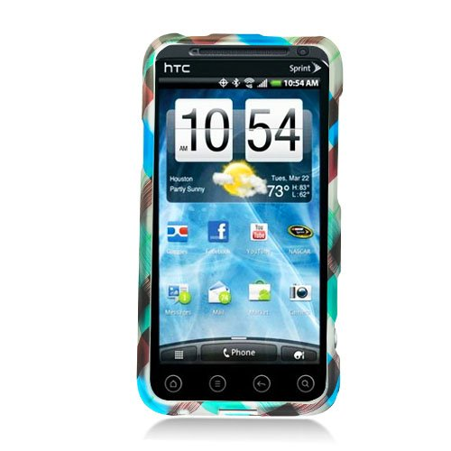 Eagle Cell PIHTCEVO3DR2D154 Stylish Hard Snap-On Protective Case for HTC EVO 3D/EVO V 4G - Retail Packaging - Blue Green Brown Check