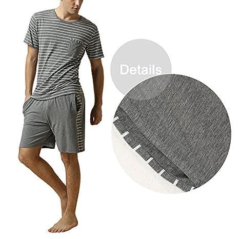 Dolamen Pijamas para Hombre, Pijamas Hombre Primavera verano, Hombre camisones deportes Corta, Rayas Algodón suave y cálido Manga Corta y pantalones Cortos: ...