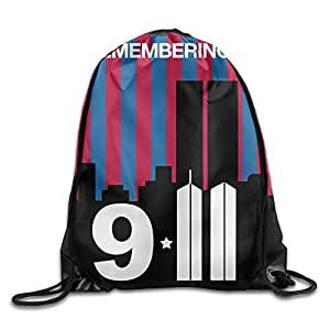 United We Stand Remembering 9 11 We Will Never Forget Pattern Printed Bundle Mouth Single Pocket Takeoff Drawstring Backpack