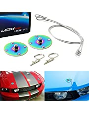 iJDMTOY Set of Classic Design 2.5-Inch Billet Aluminum Hood Pin Appearance Kit w/Cable Compatible With Any Car, Truck, SUV, etc