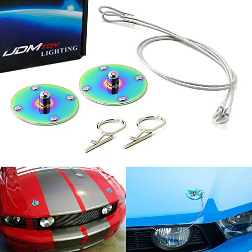 iJDMTOY Set of Classic Design 2.5-Inch Neo Chrome Color Billet Aluminum Hood Pin Appearance Kit w/Cable Compatible With Any Car, Truck, SUV, etc