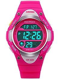 Girls Digital Sport Watch,Pink LED Waterproof Wrist...