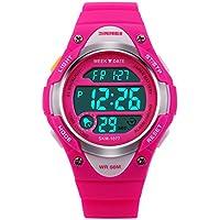 Girls Digital Sport Watch,Pink LED Waterproof Wrist Watches with Alarm for Kids,Children Gift