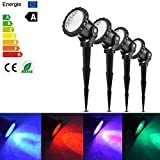 Vingtank US Plug 4 Pcs RGB LED Garden Spotight Submarine Lights with Stake 10W IP68 Waterproof Remote Control 4 Light Modes for Garden Landscape Park Rockery Pool Pond Corridor Fish Tank Aquarium