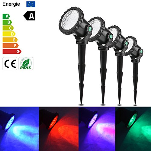 Vingtank US Plug 4 Pcs RGB LED Garden Spotight Submarine Lights with Stake 10W IP68 Waterproof Remote Control 4 Light Modes for Garden Landscape Park Rockery Pool Pond Corridor Fish Tank Aquarium by Vingtank