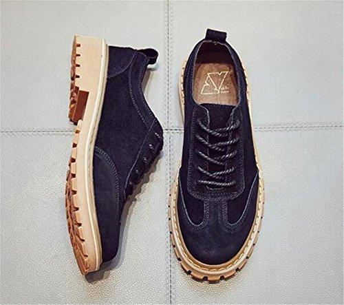Damenschuhe Echtleder Schnürsenkel Oxford Weiche Sohle Martin Boot Größe 35 bis 43 Black