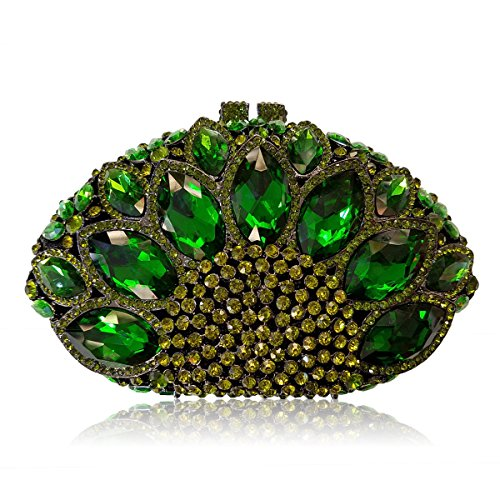 Gemstone Shape Women Silver Green Flada Evening Sector Wedding Handbag Purse Rhinestones Clutch x5AqX