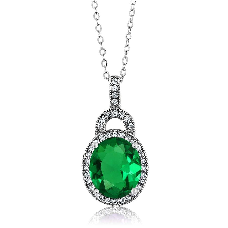 """4.28 Ct Oval Green Nano Emerald 925 Sterling Silver Pendant 18"""" Chain"""