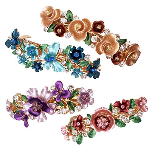 4 Colorful Vintage Flower Design Metal French Barrettes Hair Clasps Accessories Women Girls