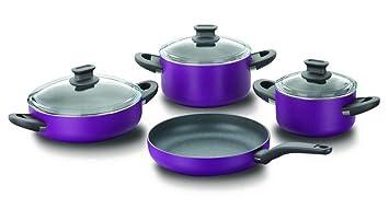 Korkmaz a1298 Lina 7 Piezas Juego de Olla Olla sartén Violet teflón tenceri SETI Cookware