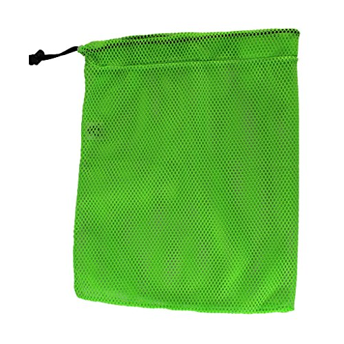 (SGT KNOTS Mesh Bag USA Made (Small) 550 Paracord Drawstring Bag - Ventilated Washable Reusable Stuff Sack for Laundry, Gym Clothes, Swimming, Camping, Divingl (15 inch x 22 inch - Neon Lime))