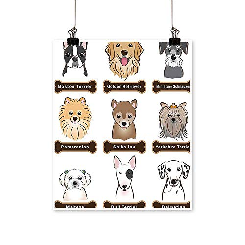 Single Painting Various Type of Dogs Nameplate Boston Terrier Domestic Animal Faithful Loyal Grey Office Decorations,12