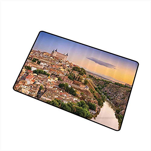 - Mdxizc Non-Slip Door mat Wanderlust Decor Collection Toledo Spain Old City Over The Tagus River Downtown Castle Architectural Ancient Picture W30 xL39 Easy to Clean Ivory