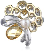 Sterling Silver Genuine Citrine and Pearl Bee Honeycomb Ring, Size 7 from PAJ, Inc