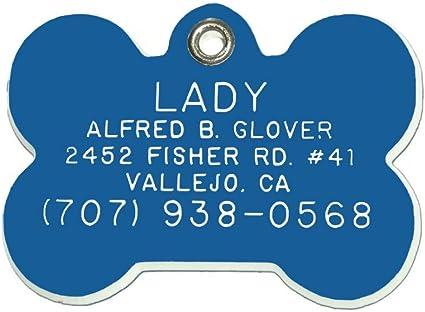 Customized Dog Cat Tag Identification Metal Engraved Pet ID GIft Blue Bone