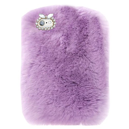 Case for Fire HD 7 (2014 Oct Release),Bling Rhinestone Fuzzy Faux Rabbit Furry Fluffy Beaver Rex Rabbit Fur Protective Case for Amazon Fire HD 7 (4th Generation) 2014 model(Light - Case Kindle Bling Hd 2014 7 Fire
