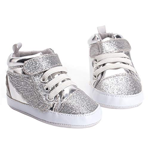(Infant Baby Prewalker Shoes Angel Wings Soft Sole Toddler Sneaker Shoes (Size 11(0-6 M)) Silver )