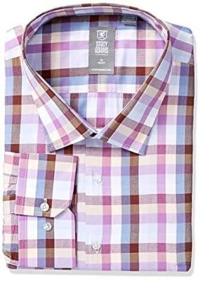 STACY ADAMS Men's Modern Fit Plaid Dress Shirt