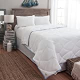 Luxury 350 TC Tommy Bahama Cooling Nights Blanket - White With Blue Trim - Aegean Wave Design (Oversized King)